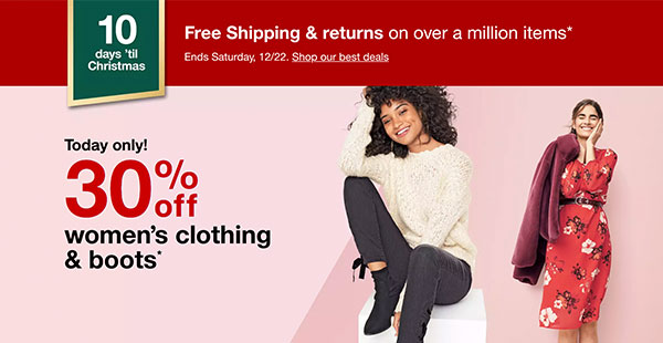 Today Only Deal on Women's Clothing and Boots at Target